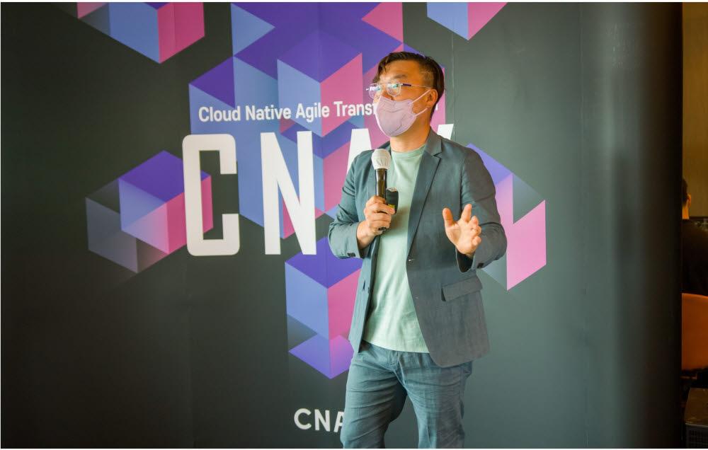 정우진 디지털엑스원 대표가 CNAX 행사장에서 발표하고 있다. (사진=디지털엑스원)