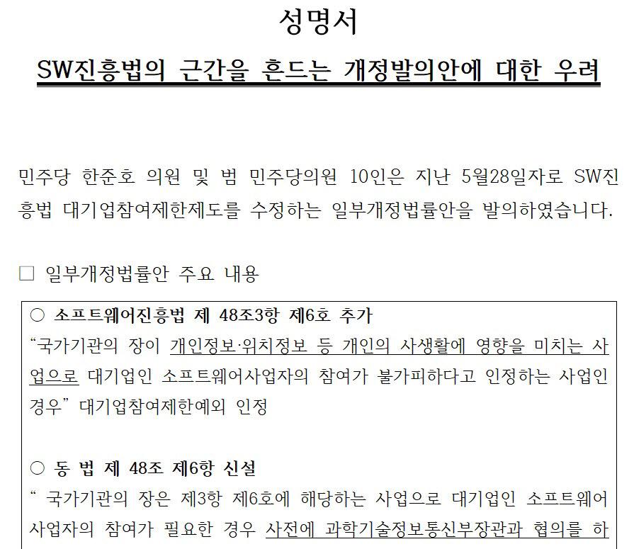 한국정보산업협동조합과 한국SW·ICT총연합회, 한국데이터산업협회, IT서비스중견기업CEO협의회(이하 협단체)는 SW진흥법의 근간을 흔드는 개정발의안에 대한 우려가 제목인 성명서를 12일 발송했다. 대상은 더불어민주당 지도부, 민주당 최고위원, 과방위 위원들, SW진흥법 개정안 발의의원, 과학기술정보통신부다.
