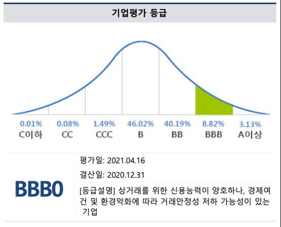 블루바이저시스템즈 기업평가 등급과 백분율