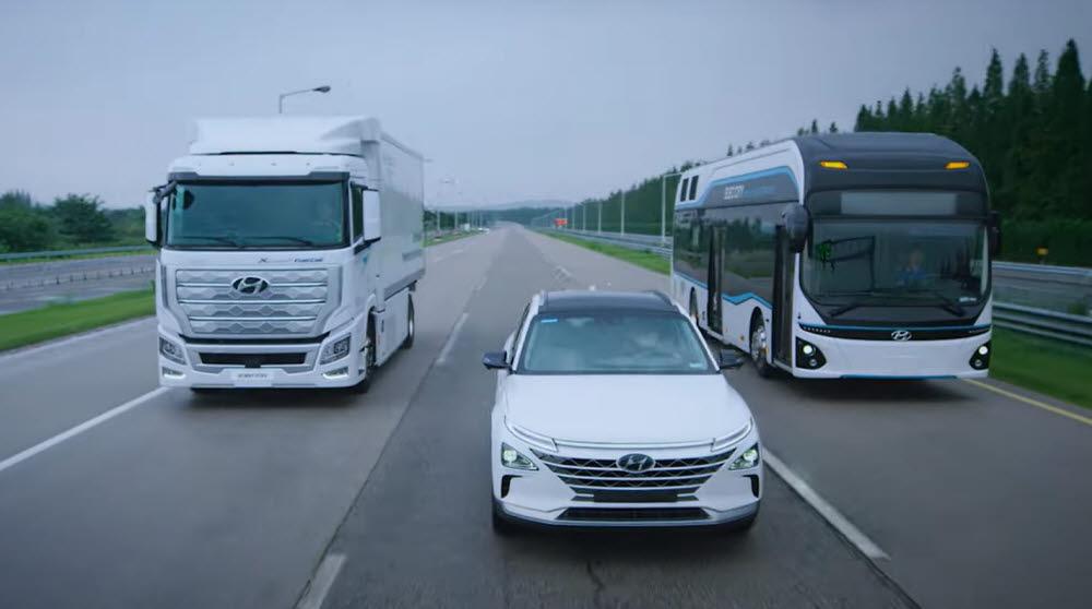 왼쪽부터 현대차 엑시언트, 넥쏘, 일렉시티 수소차.