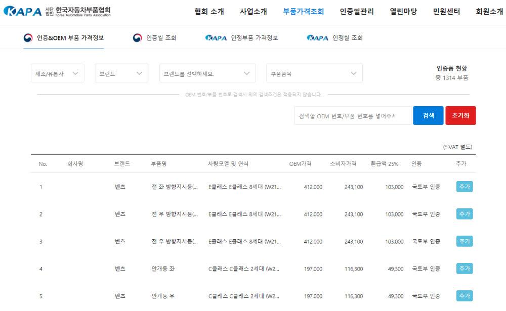 한국자동차부품협회 홈페이지를 통해 순정부품과 인증부품 가격을 동시에 확인할 수 있다. 사진출처=한국자동차부품협회