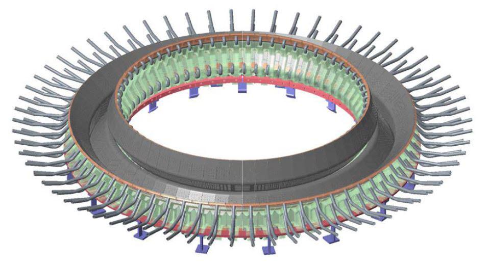 디버터 어셈블리를 모으면, 토카막 하단부를 이루는 전체 디버터가 된다.