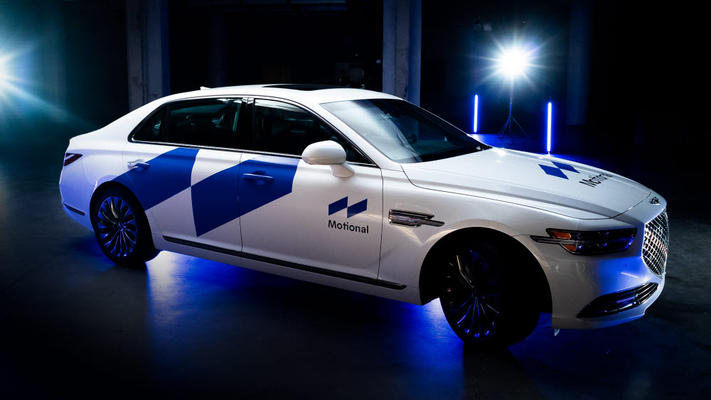 모셔널이 개발 중인 제네시스 G90 자율주행 테스트 차량.