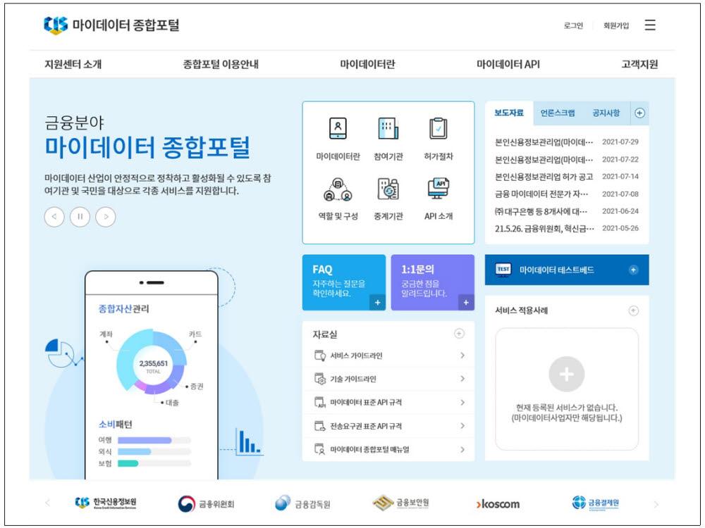 신용정보원, '마이데이터 종합포털' 오픈