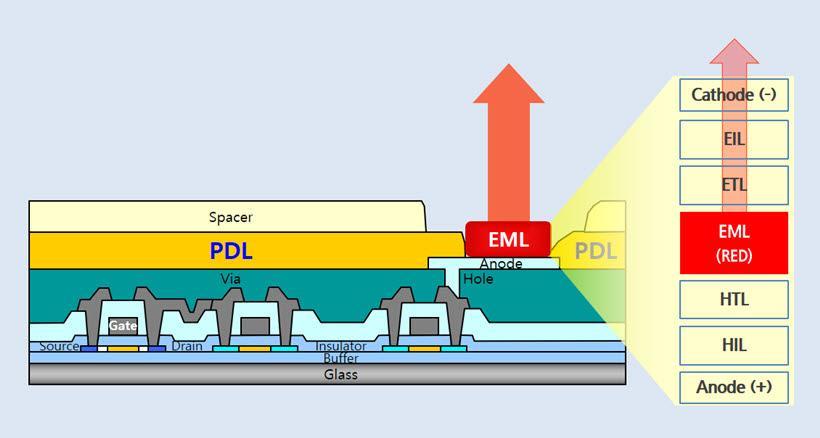 OLED 패널 단면도. PDL이 유기물발광층(EML)을 감싸고 있다.<그림=삼성디스플레이>