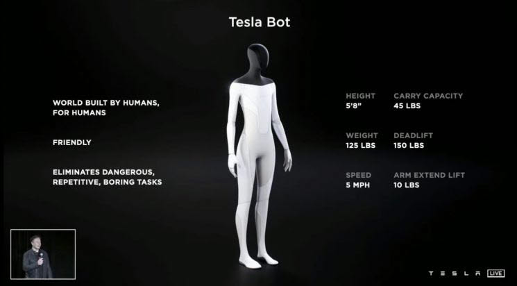 테슬라가 19일(현지시각) AI데이에서 공개한 테슬라봇 캡처 사진.