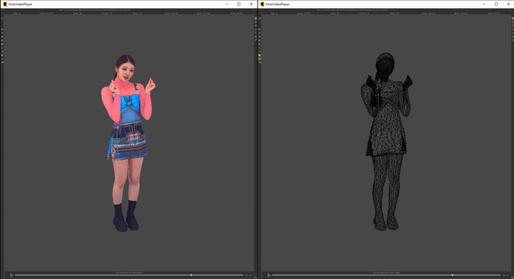 왼쪽부터 완성된 디지털 휴먼, 메시로 표현된 디지털 휴먼.