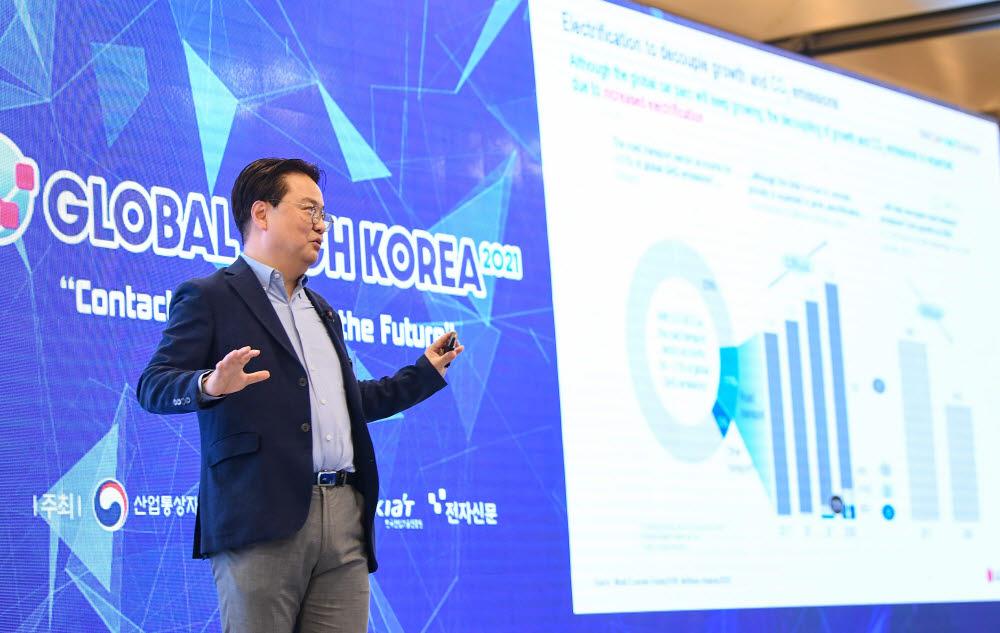 최영민 LG화학 전지소재개발센터장이 LG화학의 배터리 소재 기술 비전을 주제로 발표하고 있다.