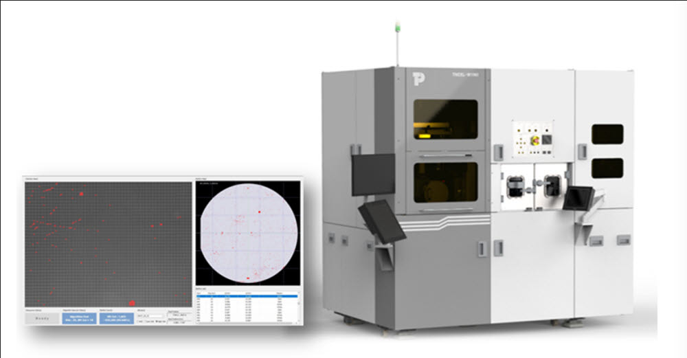 탑엔지니어링 마이크로 LED 검사장비 TNCEL-W(오른쪽)와 웨이퍼 전영역 검사 결과