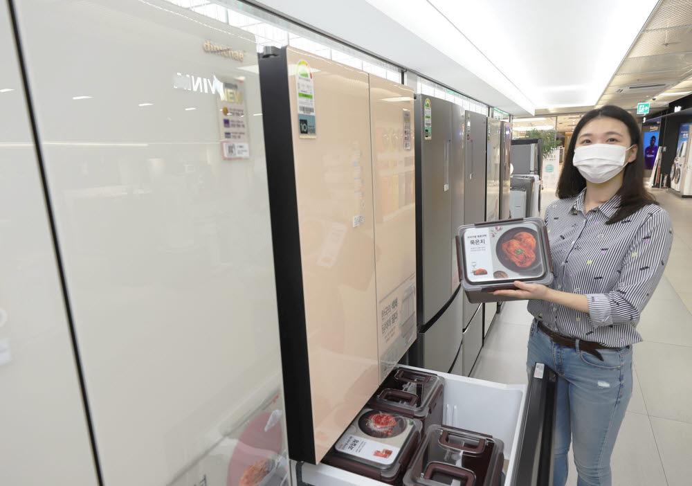롯데하이마트 메가스토어 잠실점에서 모델이 딤채 김치냉장고 행사 상품을 소개하고 있다.
