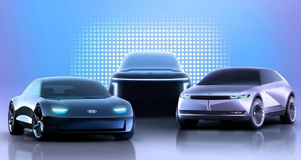 현대차가 2022년까지 신규 전기차 6종을 내놓는다. 왼쪽부터 아이오닉6, 아이오닉7, 아이오닉5 콘셉트 모델.